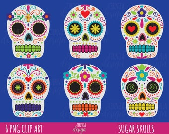 50% SALE HALLOWEEN clipart, day of death clipart, dia de muertos clipart, commercial use, sugar skulls clipart, skull, cute skulls