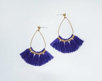 Fan Tassel Earrings Fan Earrings Statement Earrings Statement Jewelry Fringe Earrings Hoop Earrings Mother Gift Mom Gift For Her/ ARMIDA