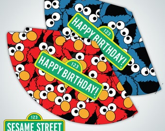 INSTANT DOWNLOAD - Sesame Street inspired Party Hats - 2 Different Designs - Party Printables - DIY Birthday