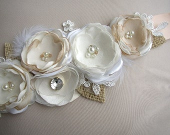 Champagne Wedding Sash, Rustic Bridal Sash, Ivory Wedding Dress Belt, Burlap Lace Wedding Sash, Wedding Sashes Belts, Rustic Wedding Belt