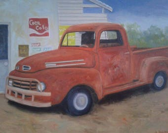 "Vintage Truck Painting Truck and Storefront Rusty Truck Art 18"" X 24"" Canvas  Men's Cave Art Car Art Old Truck Painting Retro Truck Decor"