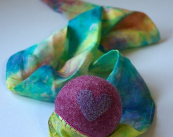 Pink Rainbow Toy, Waldorf Inspired Comet Ball (All Natural Wool and Silk Toy for Kids and Toddlers)