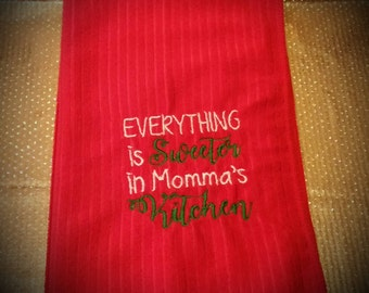 Red Embroidered Towel; Kitchen Towels; Hand Towels; Embroidered Towels; Cooking Towels; Personalized Towels