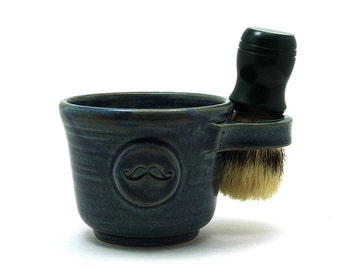 Blue Mustache Shaving Mug Fathers Day Husband Boyfriend Gift Brush is Not Included Ready to Ship