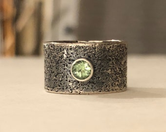 Green Tourmaline Ring- green tourmaline, tourmaline ring, tourmaline jewelry, wide band ring, earthy jewelry, oxidized sterling, ooak, ring