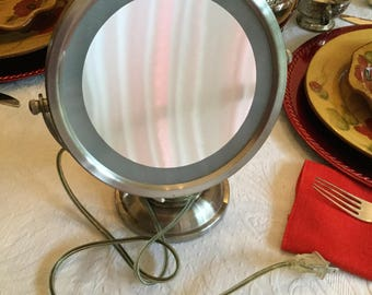 "Vintage 10"" Tall  Jerdon Metal/Glass Magnifying Vanity/Bathroom Electric/Plug Mirror-Makeup/Beauty"