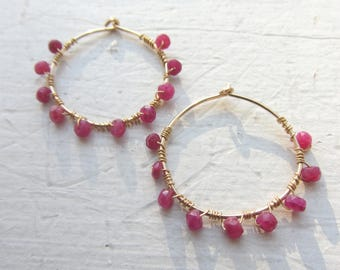 Ruby Earrings, 14K Gold Hoops, 14K Gold Earrings, July Birthday, Ruby Gemstone Earrings, Cancer Birthday, July birthstone earrings