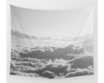 Clouds Tapestry, Wall Tapestry, Wall Hanging, Clouds, Sky, Bohemian, Boho, Wanderlust, Nature, Large Photo Wall Art, Home Decor