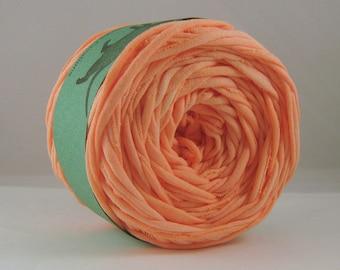T Shirt Yarn, Hand Dyed Yarn, Peach,  60 Yards, Peach Tshirt yarn, Peach T-shirt yarn, Orange T shirt Yarn, Orange Tshirt Yarn, Peach