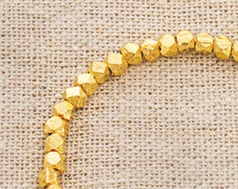 20 of Karen hill tribe 24k Gold Vermeil Style Faceted Nugget Beads 3mm.  :vm1026