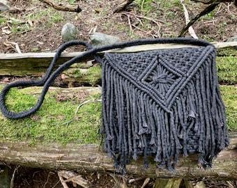 Macrame Purse - Hand Dyed Black Cotton - Large Fringe Crossbody Bag - Boho Chic, Hippie, Witchy, Gypsy, Retro, Coachella, Festival Fashion