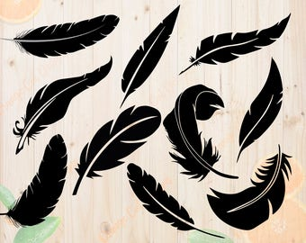 Feathers Svg, Feathers Cutfiles Dxf, Eps & Png Cutfiles, Feathers Silhouette for Cricut, Silhouette cameo, Feathers Clipart, Feathers eps