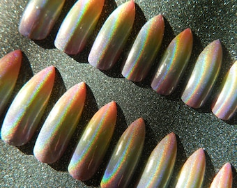 Extra Long Holographic Rainbow Stiletto False Nails.