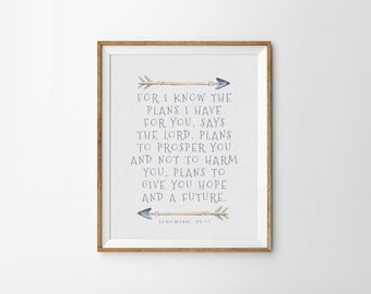 Baptism Gift - PRINTABLE Art - Bible Verse - For I know The Plans I Have For You - Inspirational Art - Scripture Quote - SKU#6613