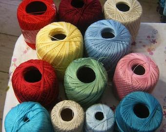 12 Crochet Thread Spools Different Colors Lot of Crochet Threads
