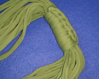 Lime Green Recycled T-shirt Infinity Scarf Necklace - upcycled tshirt scarf tarn tshirt yarn, ecofashion, green scarf