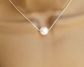 Single Big 14mm Pearl Floating Necklace Freshwater Pearl Necklace Bride Bridesmaid Bridal Jewelry Pearl Jewelry Wedding Jewelry