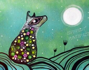 Whimsical sheep art drawing on paper,Acrylic paint & watercolors,green,whimsical art,sheep decor,wall art