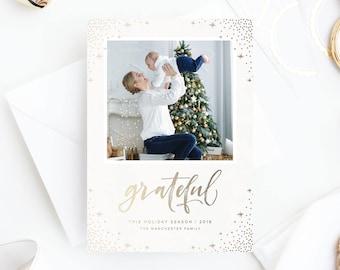 Foil Pressed Photo Holiday Card | Grateful