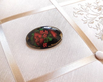 Vintage Russian Laquer Oval Brooch in Black with Red Flowers
