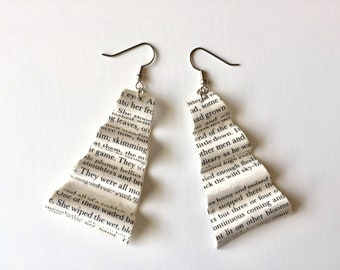 Book Club Gift Idea, Book Pages Earrings, Gifts for Writers, Recycled Vintage Books Jewelry, Gift for Bookworm, Librarian Gift, Bookworm