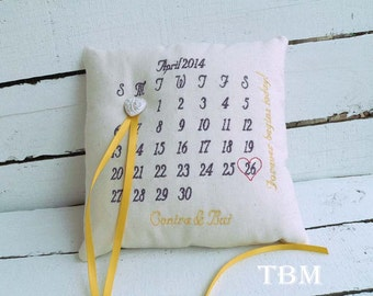 Keepsake Custom Calendar Ring Bearer Pillow - Choose Your Own Color Combinations