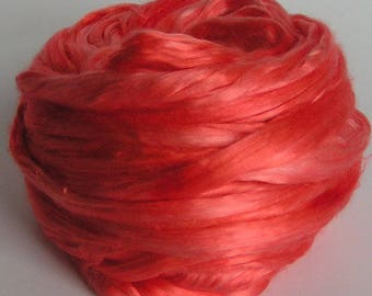 SILK Sliver Fiber cultivated Roving Mulberry Top Rove CORAL GABLES Supreme Quality A1 PhatFiber Hand Painted  Handspinning Sample