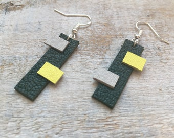 Geometric leather, surgical steel earrings