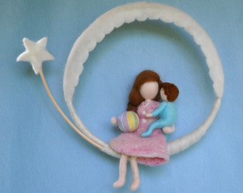 READY TO SHIP Room Decor Waldorf Inspired  Mobile: Mother and Child (boy or girl).Mothre's day gift.