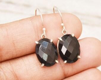 Beautiful 925 Sterling Silver BLACK ONYX Earrings, Gemstone Earrings, Birthstone Earrings, Checker Cut Onyx, Handmade Earrings, Gift Earring