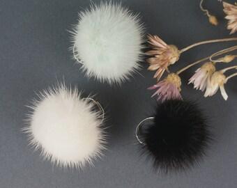 Fur ring  Mink fur ring Mink fur pom pom  Adjustable ring Finger ring Real fur ring Gift for her Winter party wear