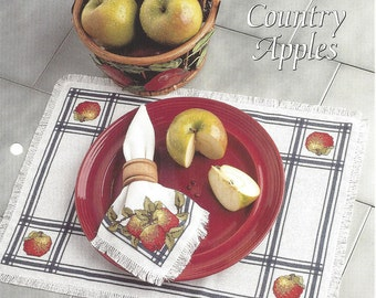 Cross Stitch Pattern Country Apples - The Needlecraft Shop Cross Stitch Collector's Series - Counted Cross Stitch Embroidery Place Mat Apple