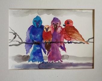 Bird watercolor painting, Original watercolor painting, birds on a branch, bird painting, painting of birds