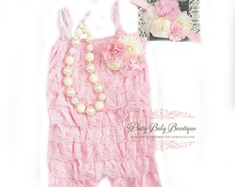 Baby Girl Cake Smash Birthday Outfit Pink and Ivory/Cream Headband Romper SET, Toddler Outfit, Romper Set, 1st Birthday Photos, Little Girl