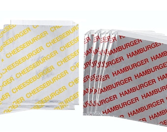 "100 qty. Foil  Cheeseburger and Hamburger Bags, French Fry Bags, and Ketchup Cup Combo/Foil Bags/Bags/Take Out Bags 6"" x 1"" x 6 1/2"""