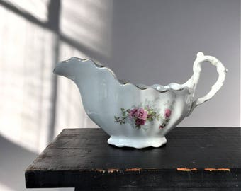 Antique Gravy Boat, Porcelain Sauce Pitcher, Shabby Cottage, Modern Farmhouse, Victorian Style Fluted Scalloped with Pink Roses Gold Accents