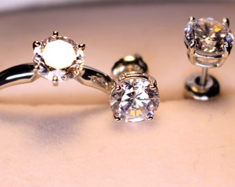 14k solid white gold set w/ Cubic Zirconia