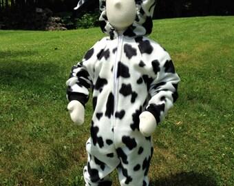 Instock Black and White Fleece Cow Costume