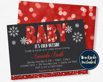 Baby It's Cold Outside Baby Shower Invitation, Winter Baby Shower Invitation, Snowflake Baby Shower Invitation, Red Glitter