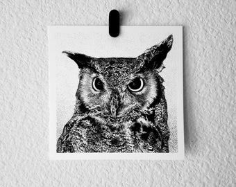 GREAT HORNED OWL Mini Watercolor Print