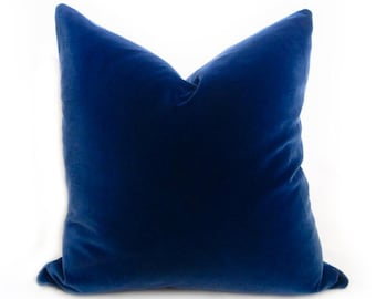 Belgium Blue Velvet Pillow Cover - Blue - MORE SIZES - Royal Blue Pillow - Blue Pillow - Blue Velvet Pillow - Decorative Pillow - Solid