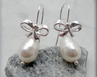 Ribbon Earrings, Pearl Earrings, Bow Earrings, Sterling Silver, Bridesmaid Jewelry, Bridesmaid Gift, Wedding Jewelry, Dangle Earring