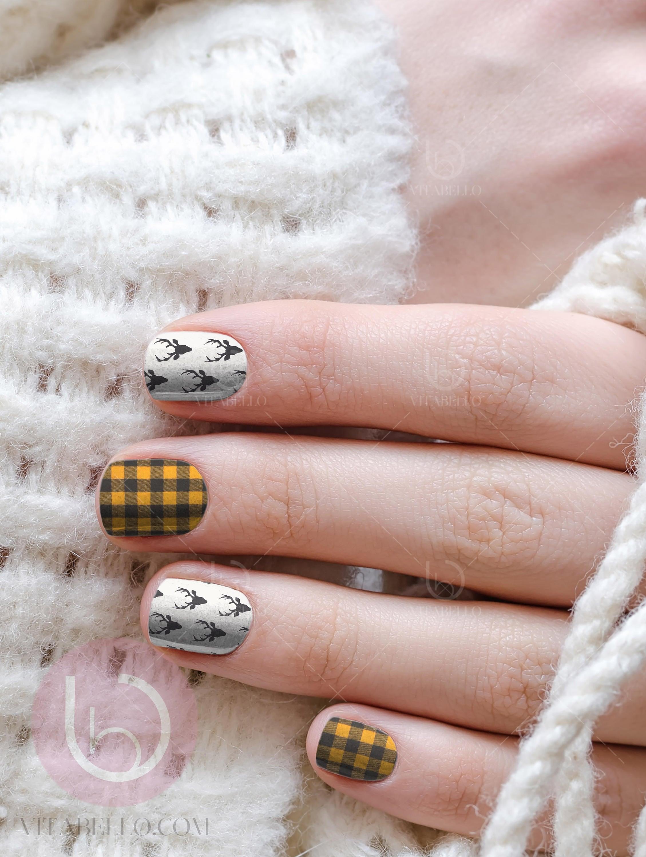Flannel Nail Decal Deer Nail Decal Nail Design Nails