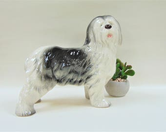 Old English Sheepdog Figurine Wain Melba Ware Kitsch Vintage Staffordshire Ceramics Home Decor Ornaments Accents