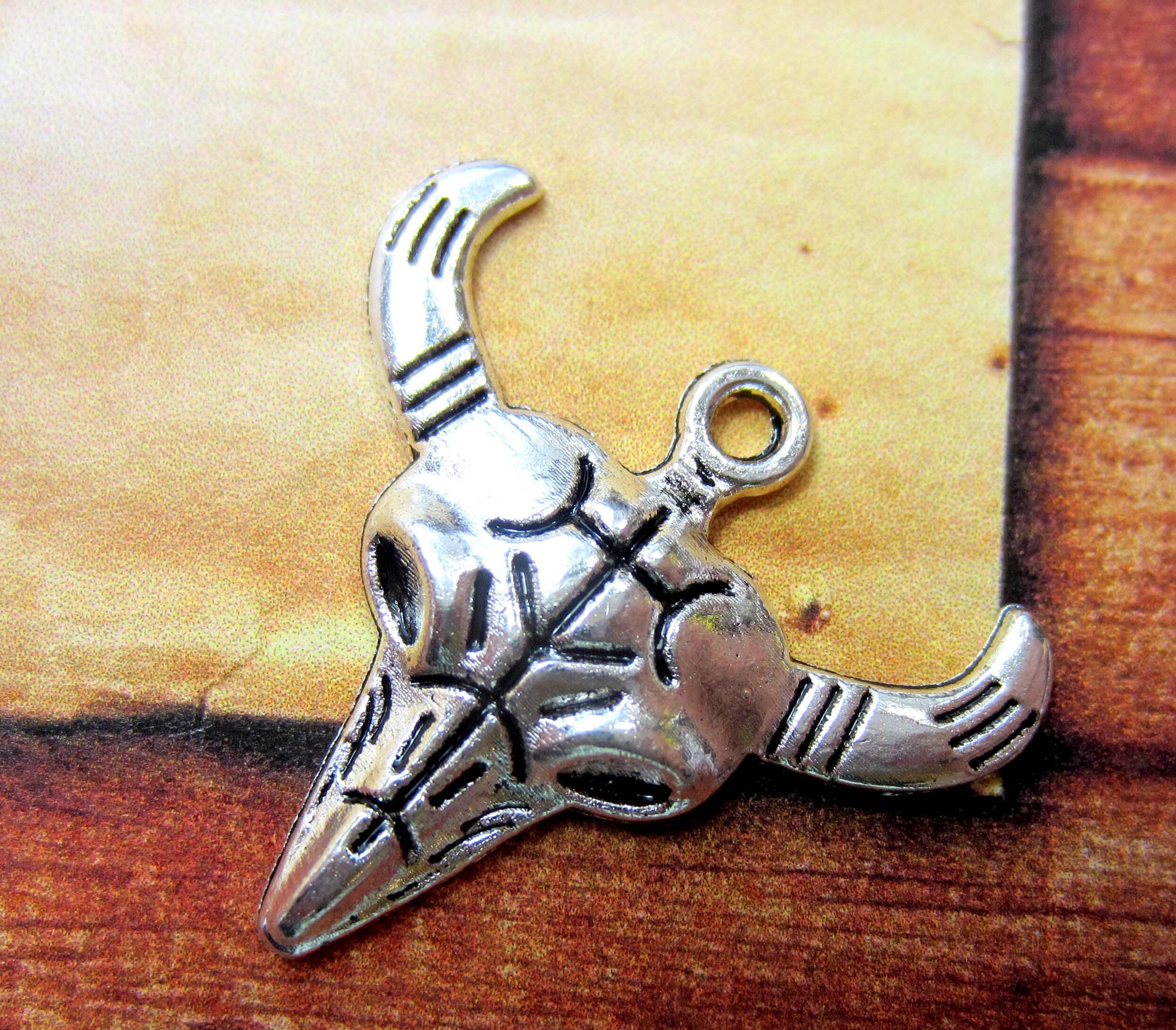 10 Silver bull head skull charms longhorn cow skull western