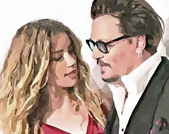 Custom Couple Portrait, Watercolor, Realistic, Fine Art, Personalized
