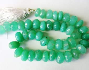 Chrysoprase faceted LARGE rondelle- 9-10mm- 4 inch