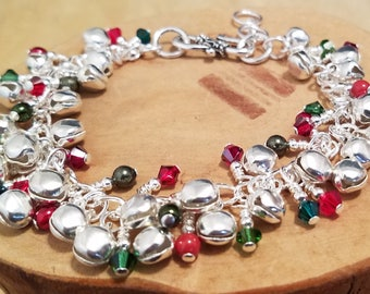 Silver Bells and Swarovski crystal and pearl festive holiday Christmas Cha Cha bracelet chock full of charm and it's adjustable too