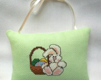 Easter Bunny With Basket Cross Stitch Ornament Hanging Pillow Ornament