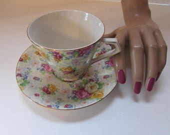 Chintz Cup Saucer Lord Nelson Ware BCM Lord Nelson Made in England Rose Time Pattern Vintage China Ware Rose Pattern China